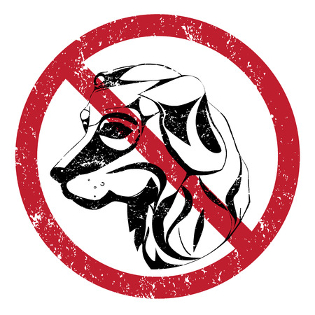 Banning stamp, ilustration of the forbidden acces with dogs  Vector