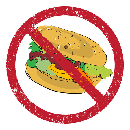 Hamburger banned stamp illustration isolated on white Vector