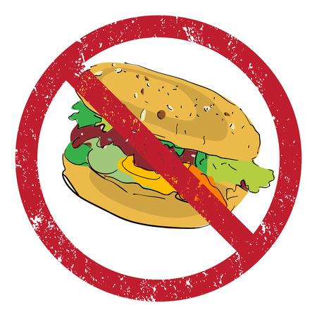 no cholesterol: Hamburger banned stamp illustration isolated on white