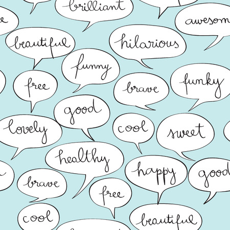 Happy speech bubbles pattern over vintage blue, hand drawn illustration of a cartoon style Pop Art background