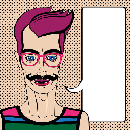 Hipster portrait with speech bubble, hand drawn illustration of a man with moustache and pink glasses over a background with dots Vector
