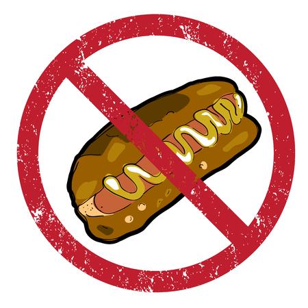 no cholesterol: Hot dog banned stamp isolated on white Illustration