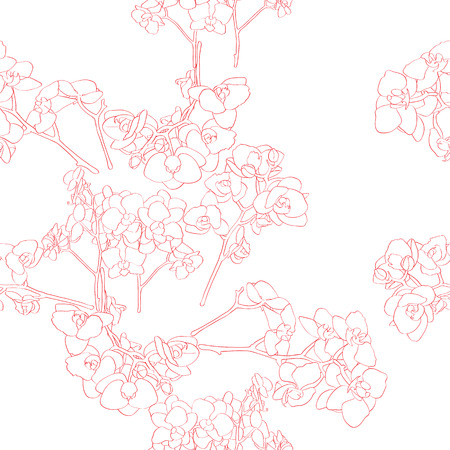 Seamless retro pattern with orchid, hand drawn illustration of a new shabby chic embroidery motif with flowers Vector