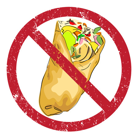 Shawarma banned stamp illustration isolated on white Vector