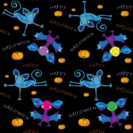 Happy Halloween pattern for kids with funny illustration of an alien cat and and alien bat, pumpkins and hand drawn text messages Vector
