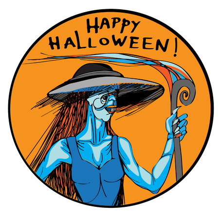 Halloween hand drawn illustration of an ugly sexy witch with a spiral rod, round image with a portrait of a blue monster in a dress  Vector