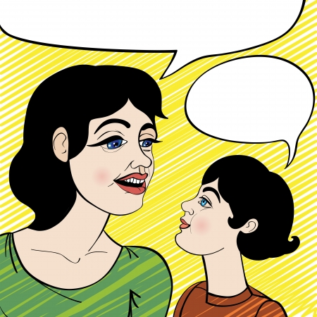 Woman and schoolgirl, cartoon illustration of a mother and daughter with speech bubbles over a yellow pattern Vector