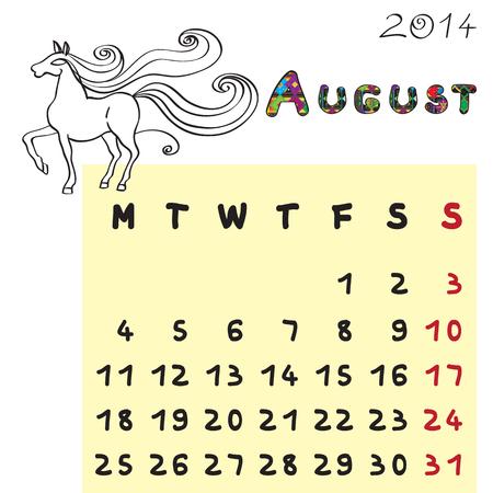 Calendar 2014 year of the horse, graphic illustration of August monthly calendar with toy doodle and original hand drawn text Vector