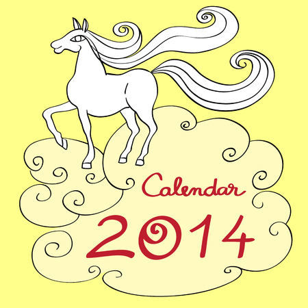 Calendar 2014 year of the horse, graphic illustration of the calendar cover with toy doodle and original hand drawn text Vector