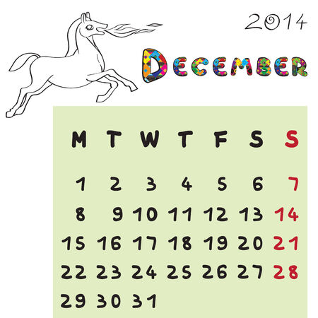 Calendar 2014 year of the horse, graphic illustration of December monthly calendar with toy doodle and original hand drawn text, colored book format Vector