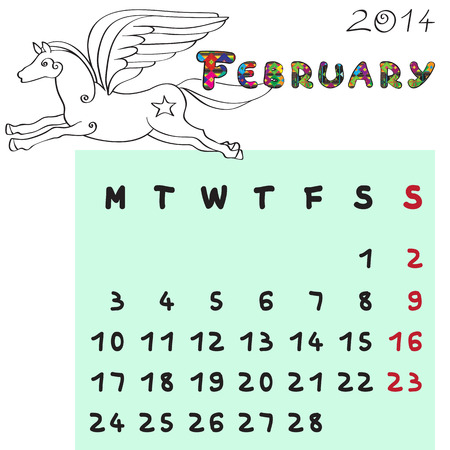Calendar 2014 year of the horse, graphic illustration of February monthly calendar with toy doodle and original hand drawn text, colored book format for kids Vector