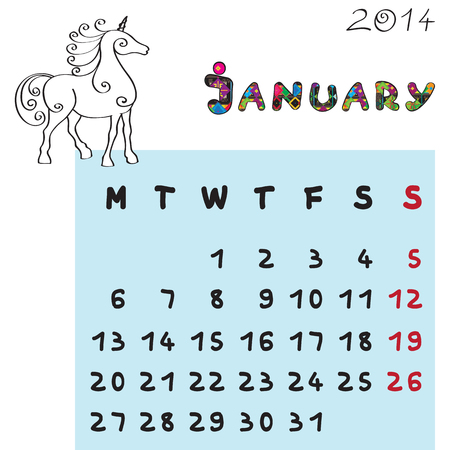 Calendar 2014 year of the horse, graphic illustration of January monthly calendar with toy doodle and original hand drawn text, colored format for kids Stock Vector - 24079104