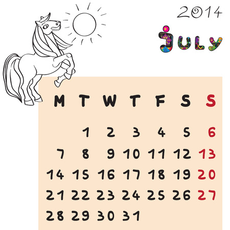 Calendar 2014 year of the horse, graphic illustration of July monthly calendar with toy doodle and original hand drawn text, colored format for kids Vector