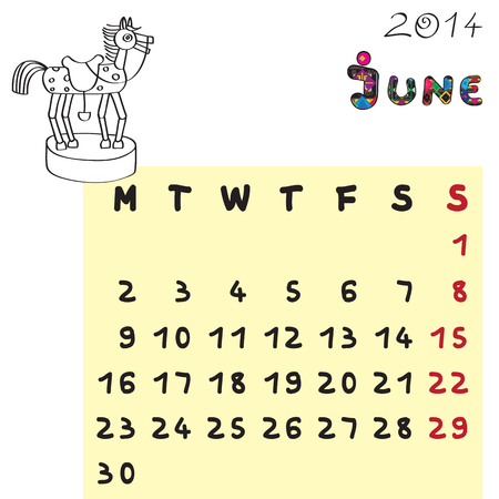 Calendar 2014 year of the horse, graphic illustration of June monthly calendar with toy doodle and original hand drawn text, colored format for kids Vector