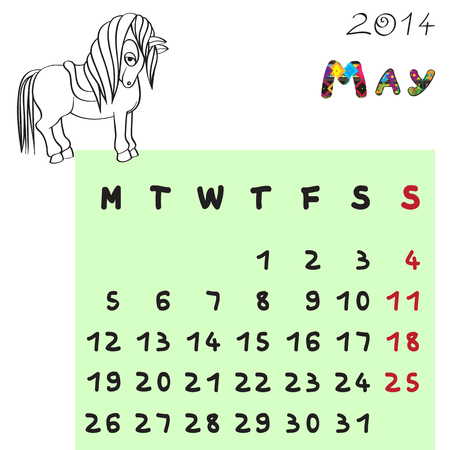 Calendar 2014 year of the horse, graphic illustration of May monthly calendar with toy doodle and original hand drawn text, colored format for kids Vector