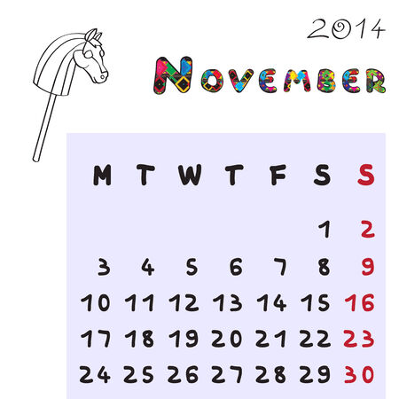 Calendar 2014 year of the horse, graphic illustration of November monthly calendar with toy doodle and original hand drawn text, colored format for kids Vector