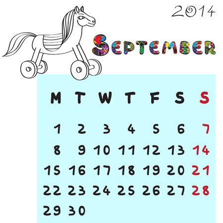 Calendar 2014 year of the horse, graphic illustration of September monthly calendar with toy doodle and original hand drawn text, colored format for kids Vector