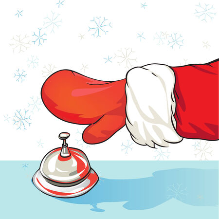 call bell: Cartoon illustration of Santa Claus arrival at the hotel, drawing representing a hand of a person with red glove ringing at the call bell while it is snowing