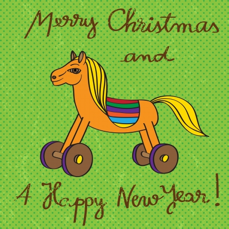 Vintage toy horse card for Christmas and The New Years Eve, hand drawn illustratiion and text over a green grungy background with dots Vector