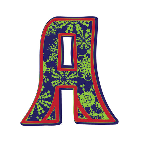 Hand drawn illustration of the A capital letter with a green winter snowflakes ornamentation on dark blue, one element isolated on white Vector