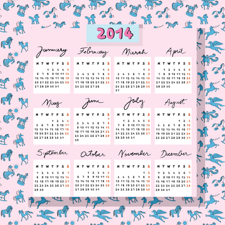 Hand drawn illustration of 2014 calendar over a pink seamless pattern with blue toy horses doodles Vector