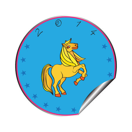 cartoon new: Hand drawn illustration of a prancing horse cartoon, New Year 2014 blue sticker isolated on white