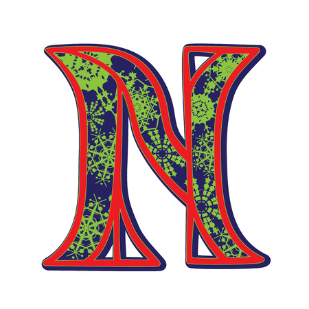 Hand drawn illustration of the N capital letter with a green winter snowflakes ornamentation on dark blue, one element isolated on white Vector