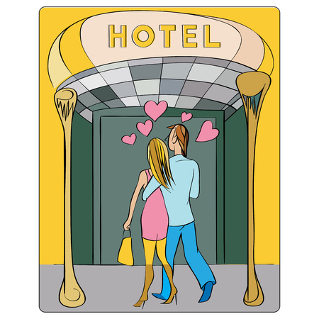 Valentines Day or honeymoon card, hand drawn cartoon illustration of two lovers seen from the back entering in a hotel Vector