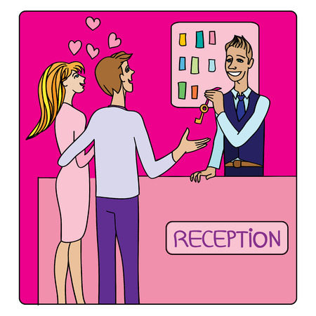 Valentines Day or honeymoon card, cartoon illustration of two lovers at the hotel reception taking a key from the receptionist Illustration