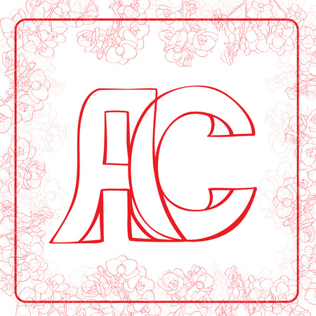 A and C letters, hand drawn illustration of a monogram surrounded by a floral frame with orchids Vector