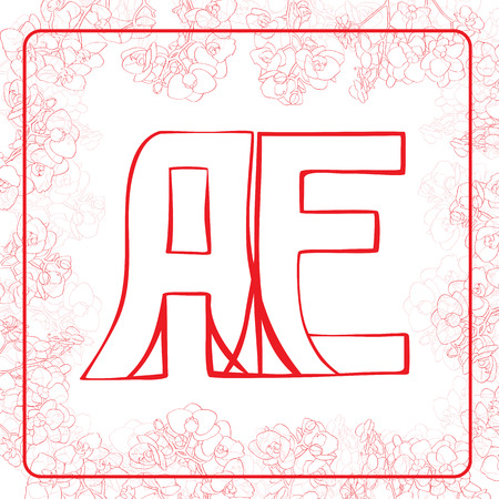 A and E letters, hand drawn illustration of a monogram surrounded by a floral frame with orchids Vector