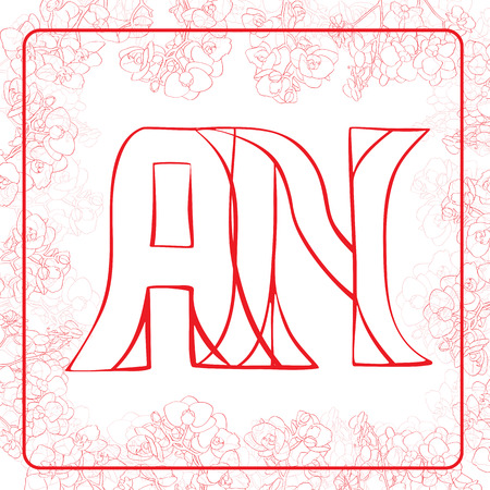A and N letters, hand drawn illustration of a monogram surrounded by a floral frame with orchids Vector