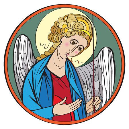 interpretation: Archangel colored drawing, hand drawn illustration of an orthodox icon interpretation isolated on white