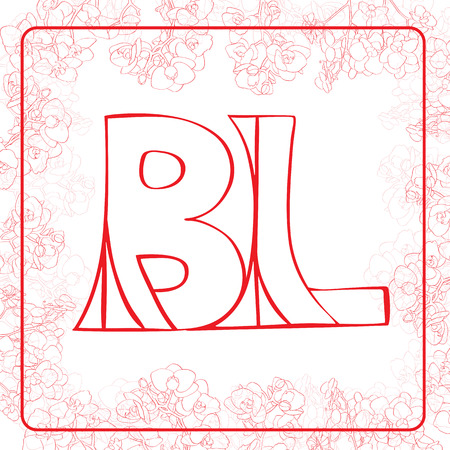 bl: BL monogram in an orchids frame, red letters illustration on white