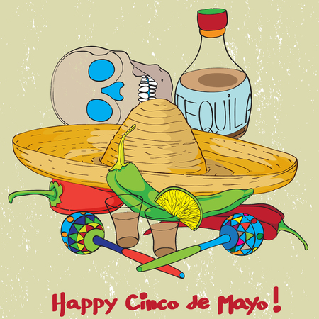 Cinco de mayo hand drawn cartoon illustration of a greeting card composition with mexican traditional elements oven a grungy background Vector