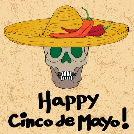 Cinco de mayo hand drawn cartoon illustration of a greeting card with a funny skull with sombrero hat and peppers oven a grungy background