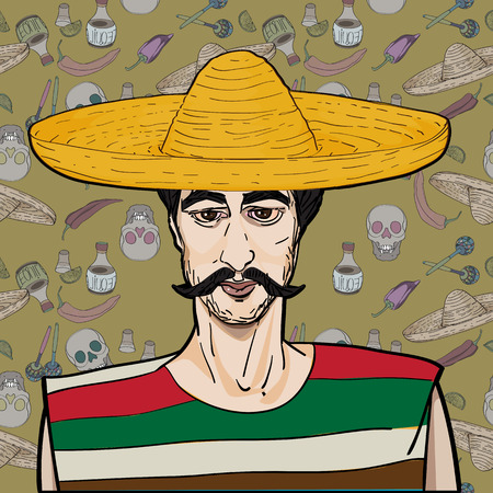 Cinco De Mayo hand drawn cartoon illustration of a mexican man with mustache and sombrero over a background with  traditional elements Vector