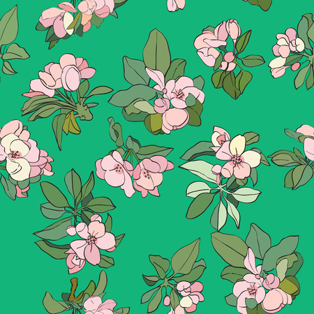 Apple tree cartoon flowers pattern, spring hand drawn illustration over a green background Vector