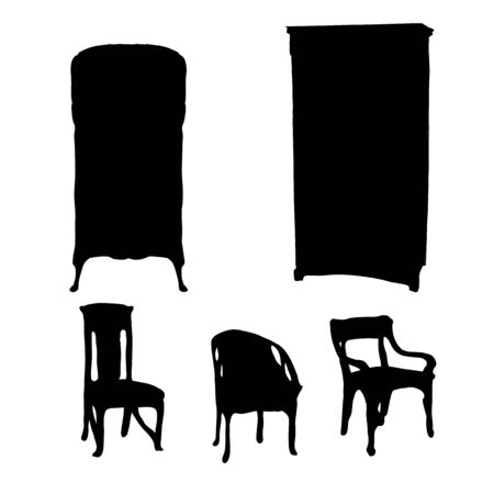 Art Nouveau furniture silhouettes isolated on white Vector