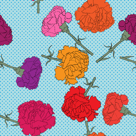carnations: Carnations seamless pattern with pop art dots, hand drawn cartoon illustration with beautiful flowers