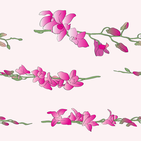Long orchids pattern over light yellow background, horizontal composition Vector