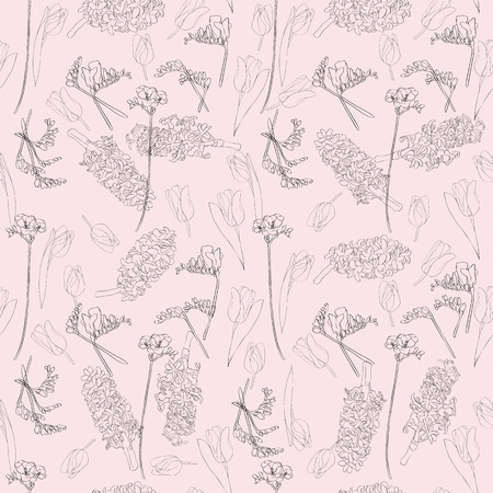 Spring flowers seamless pattern, beautiful linear hand drawn illustration Vector