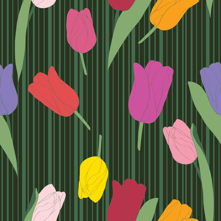 Seamless retro tulips pattern on a background with stripes, hand drawn doodle illustration Vector