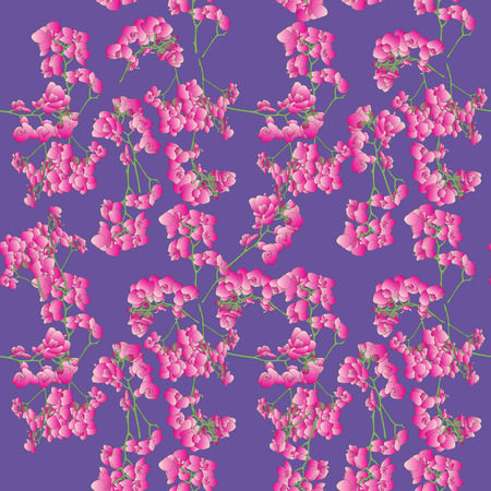 Seamless retro pattern with hand drawn orchids over a purple background Vector