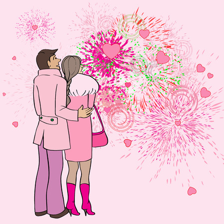 Valentines Day card, cartoon hand drawn illustration of two lovers watching fireworks and hearts in the sky Vector