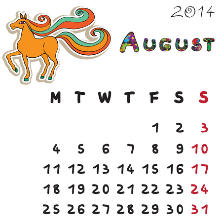 Calendar 2014 year of the horse, graphic illustration of August monthly calendar with toy doodle Vector