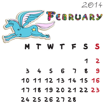 Calendar 2014 year of the horse, graphic illustration of February monthly calendar with toy doodle and original hand drawn text, colored format for kids Vector