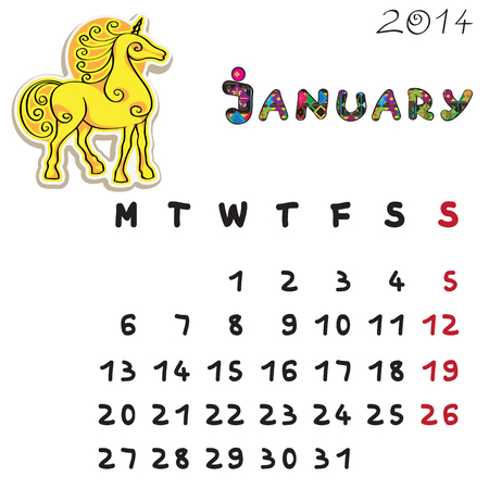 Calendar 2014 year of the horse, graphic illustration of January monthly calendar with toy doodle Vector