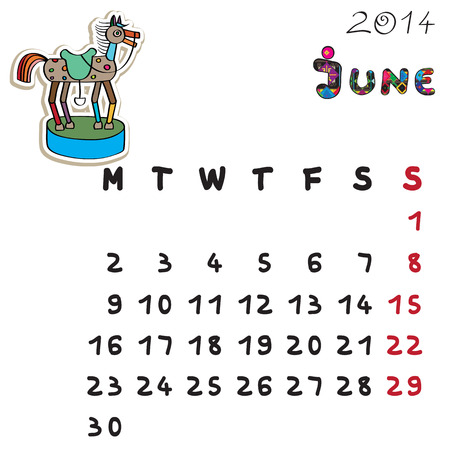 Calendar 2014 year of the horse, graphic illustration of June monthly calendar with toy doodle and original hand drawn text Vector