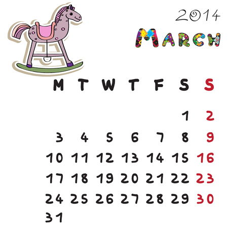Calendar 2014 year of the horse, graphic illustration of March monthly calendar with toy doodle and original hand drawn text Vector